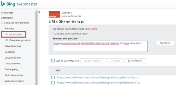 Bing Webmaster Tools: URLs übermitteln