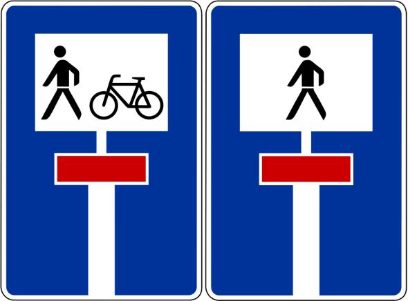 Durchlässige Sackgasse (Schilder 357-50 und 357-51)