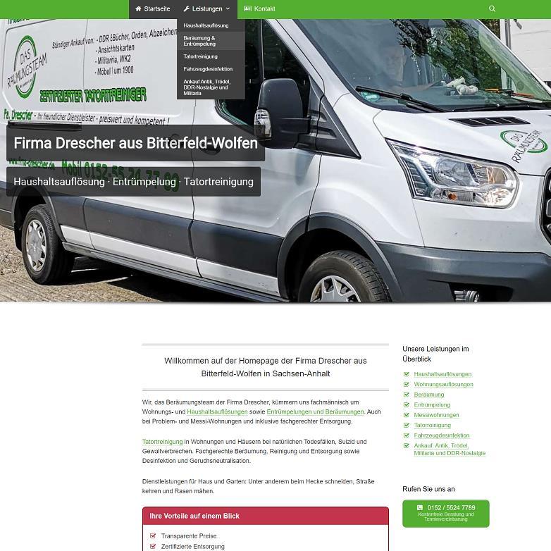 Firma Drescher - Haushaltsauflösung,Entrümpelung, Tatortreinigung Bitterfeld-Wolfen