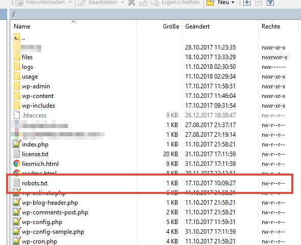 Speicherort der robots.txt für WordPress in einem FTP-Programm