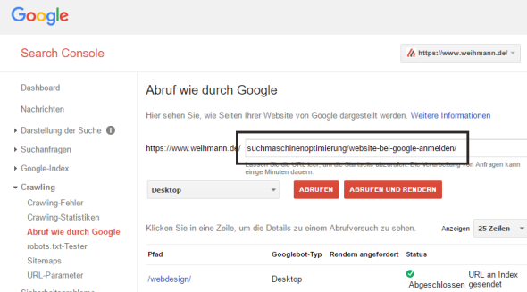 Google Search Console - URL an Index senden