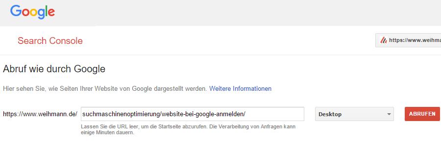 Google Search Console - Webseite an Index senden