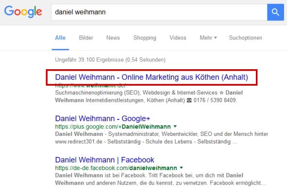 Google Suchergebniseite zur Suche nach Daniel Weihmann (11.02.2016)