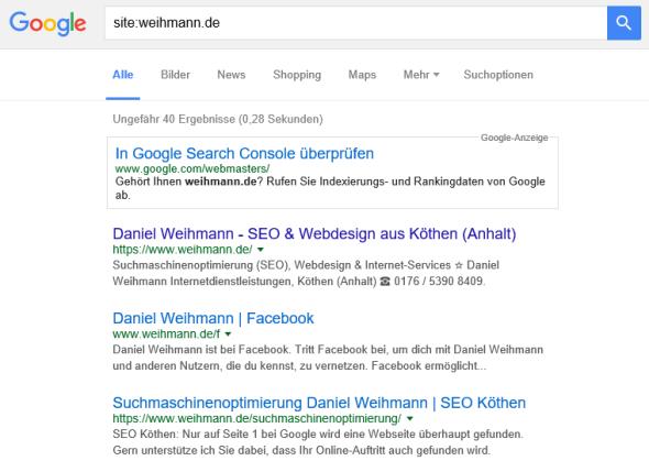 Google Site-Abfrage für weihmann.de