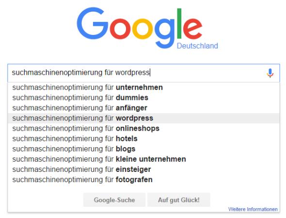 Google Suggest zu Suchmaschinenoptimierung für WordPress