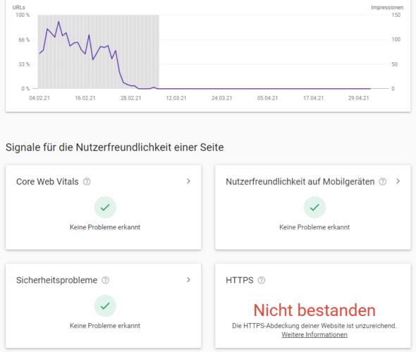 Google Search Console: HTTPS-Abdeckung deiner Website ist unzureichend