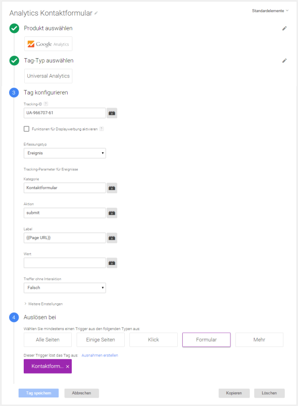 Tag einrichten - Google Tag Manager WPCF7 Tracking