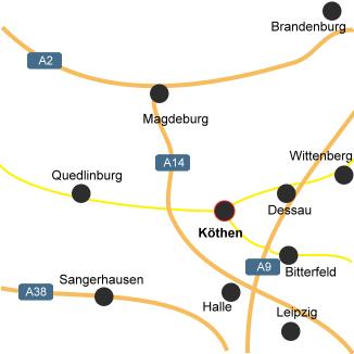 Lage und Anfahrt nach Köthen (Anhalt)