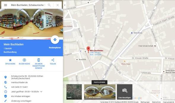 Google Maps Eintrag mit 360° Panorama: Mein Buchladen in Köthen