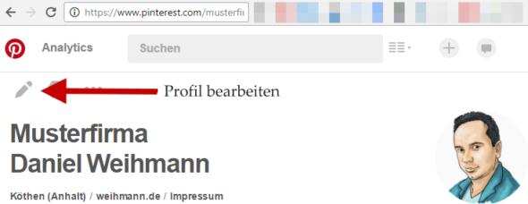 Pinterest Profil bearbeiten