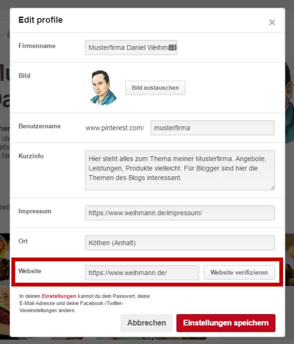 Pinterest: Website eintragen und verifizieren