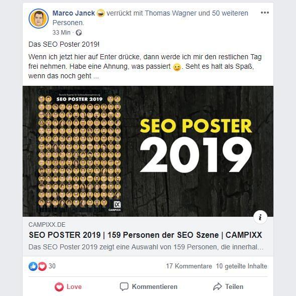 Marcos Fcebook-Posting zum SEO-Poster 2019