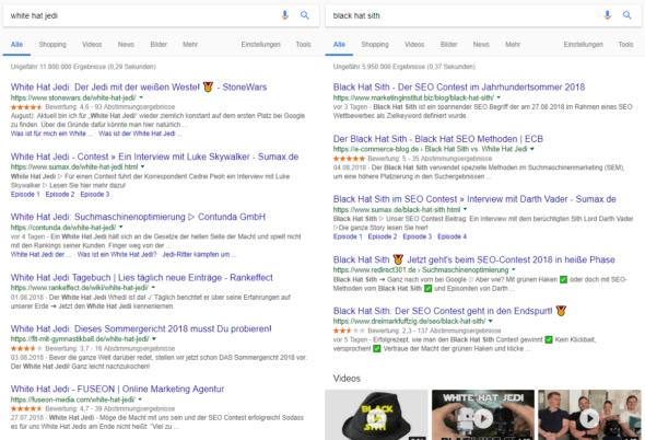 Suchergebnisseiten für White Hat Jedi und Black Hat Sith