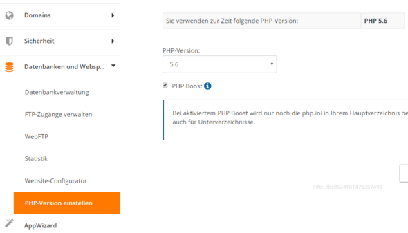 Bei Strato die PHP-Version ändern