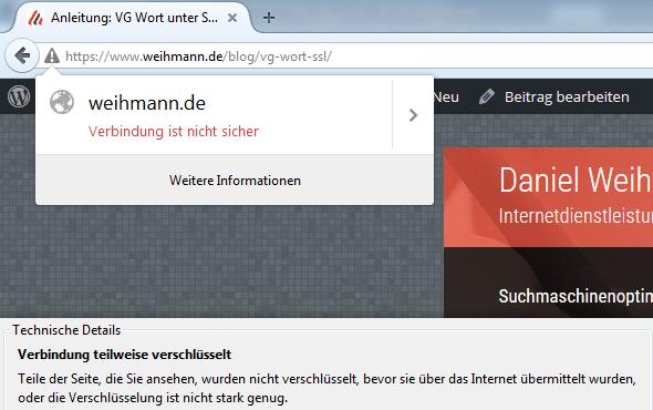 Warnung bzw. Fehlermeldung im Browser