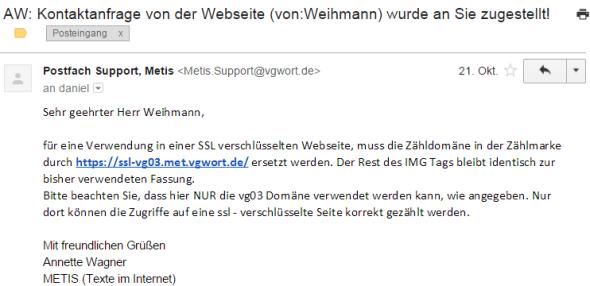 VG Wort - Antwort zum Problem SSL und Zählmarke