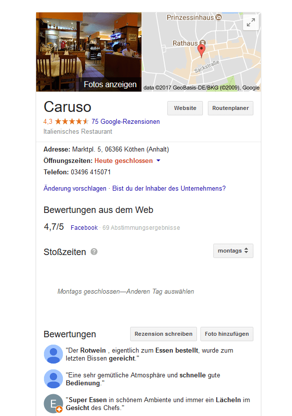 Google Local Eintrag: Caruso Köthen