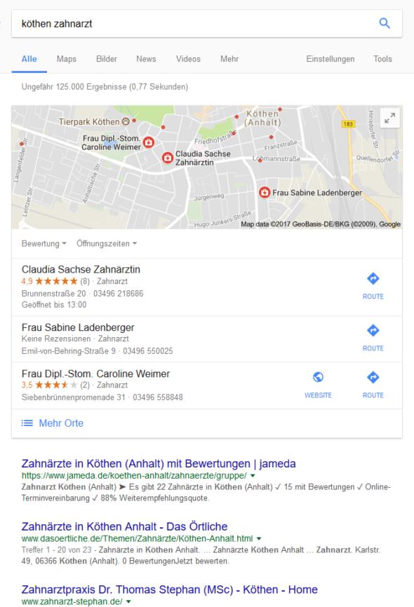 Google-Suche nach: Zahnarzt Köthen