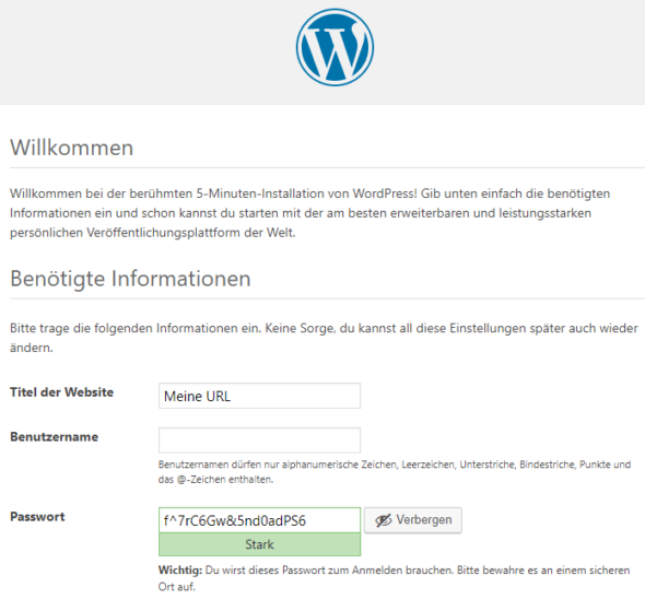Wordpress Installation Willkommensseite