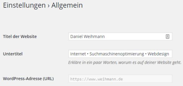 Wordpress: Allgemeine Einstellungen