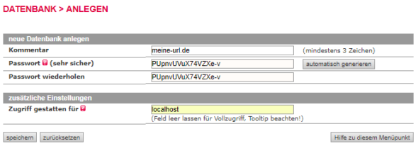 Anlegen der Datenbank beim Hoster (hier All-Inkl)