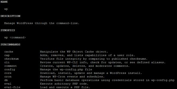 WP-CLI-Befehl: wp help