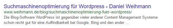 Snippet - WordPress Suchmaschinenoptimierung (SEO)