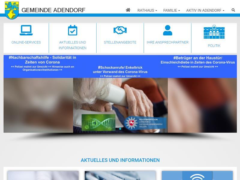 Screenshot: Homepage Gemeinde Adendorf
