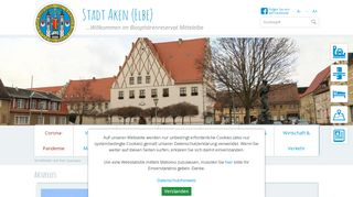 Screenshot: Homepage Stadt Aken