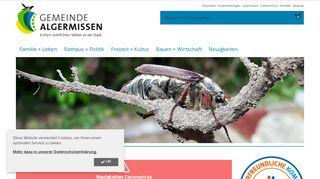 Screenshot: Homepage Gemeinde Algermissen
