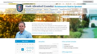 Screenshot: Homepage Stadt Allendorf