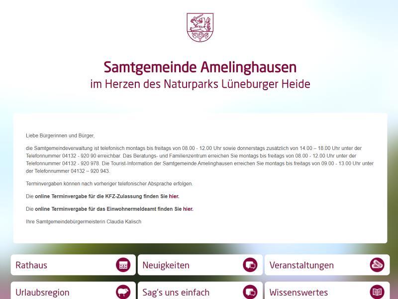 Screenshot: Homepage Samtgemeinde Amelinghausen