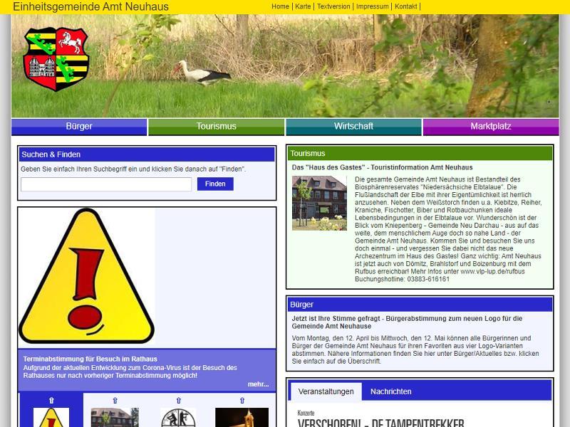 Screenshot: Homepage Gemeinde Amt Neuhaus