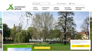 Screenshot: Homepage Stadt Apolda