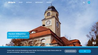 Screenshot: Homepage Stadt Artern
