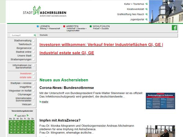 Screenshot: Homepage Stadt Aschersleben