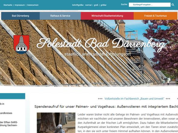 Screenshot: Homepage Stadt Bad Dürrenberg