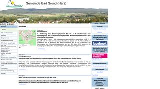 Screenshot: Homepage Gemeinde Bad Grund