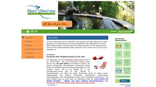 Screenshot: Homepage Stadt Bad Sachsa