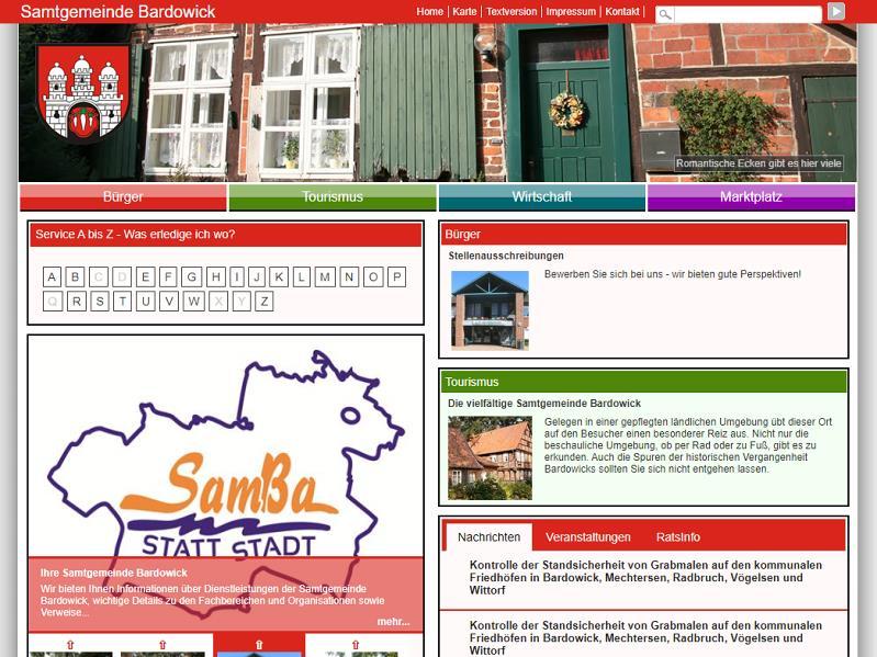 Screenshot: Homepage Samtgemeinde Bardowick