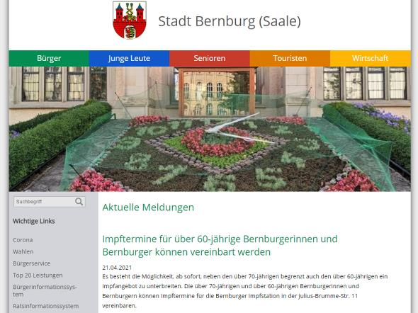 Screenshot: Homepage Stadt Bernburg