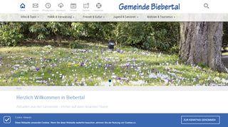 Screenshot: Homepage Gemeinde Biebertal