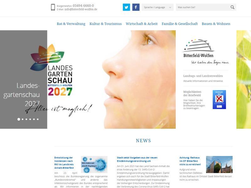 Screenshot: Homepage Stadt Bitterfeld-Wolfen