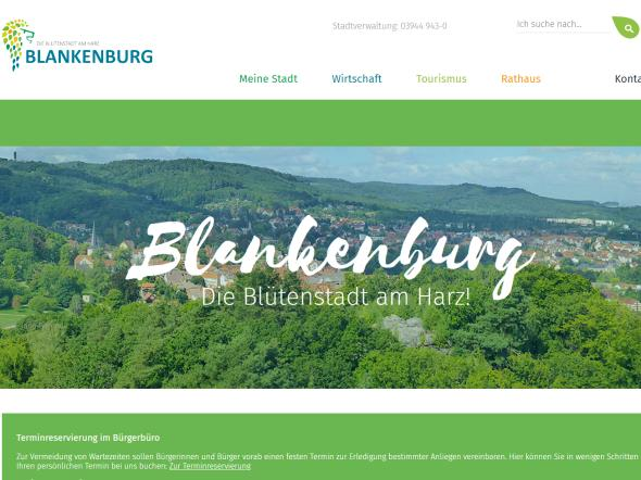 Screenshot: Homepage Stadt Blankenburg