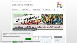 Screenshot: Homepage Gemeinde Blankenfelde-Mahlow