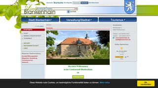 Screenshot: Homepage Stadt Blankenhain