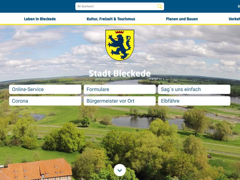 Screenshot: Homepage Stadt Bleckede