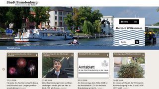Screenshot: Homepage Stadt Brandenburg