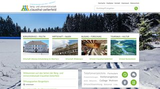 Screenshot: Homepage Stadt Clausthal-Zellerfeld