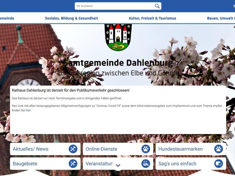 Screenshot: Homepage Samtgemeinde Dahlenburg
